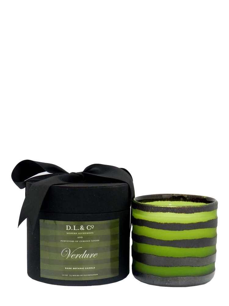 Modern Alchemy Candle Hand Blown Rayure Collection 4102 Verdure Thick Stripe