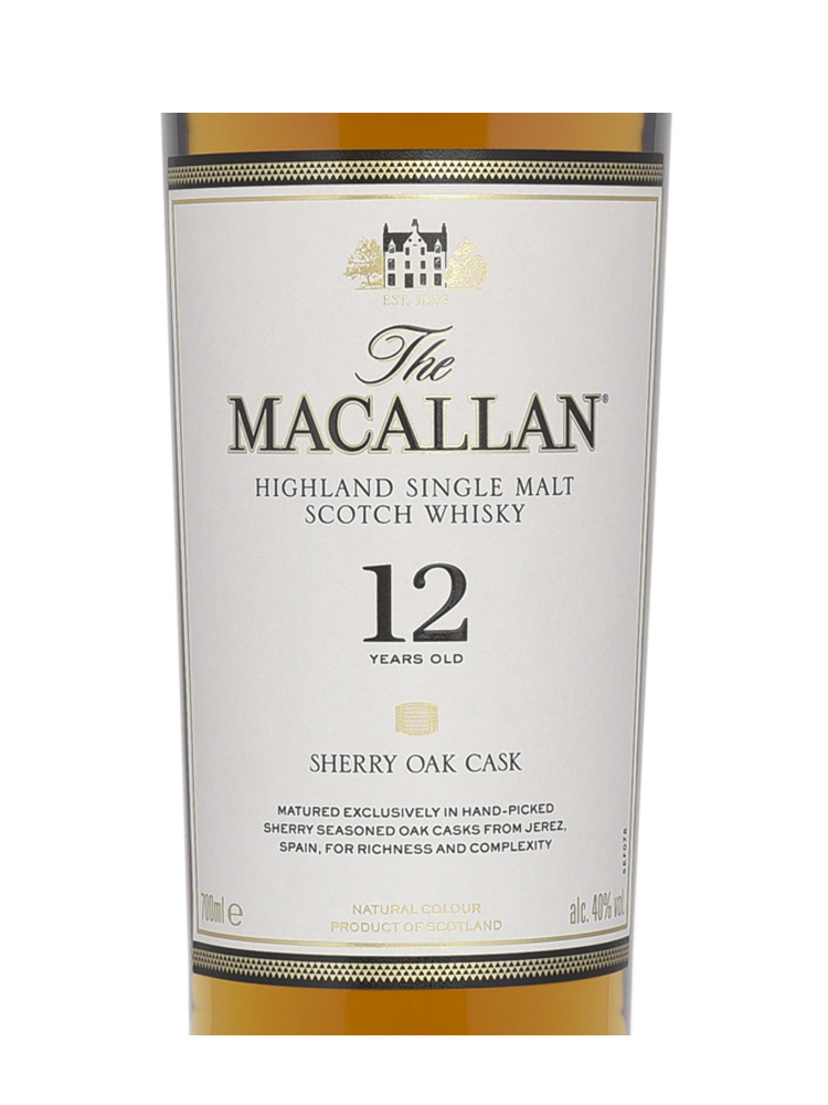 Macallan  12 Year Old Sherry Oak Single Malt 700ml - 6bots