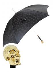 Pasotti Umbrella UAW33 Skull Gold Handle Black Skull Print