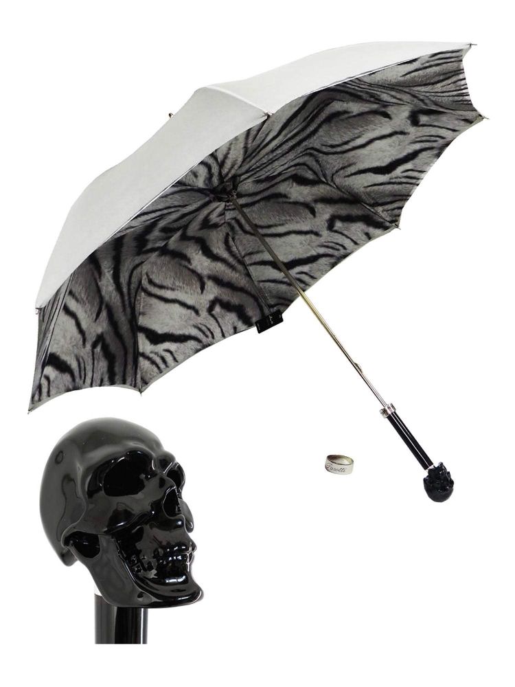 Pasotti Umbrella UMW33 Skull Black Handle Grey Gradient