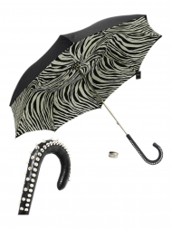 Pasotti Umbrella UMH20U Studd Handle Black Zebra Print