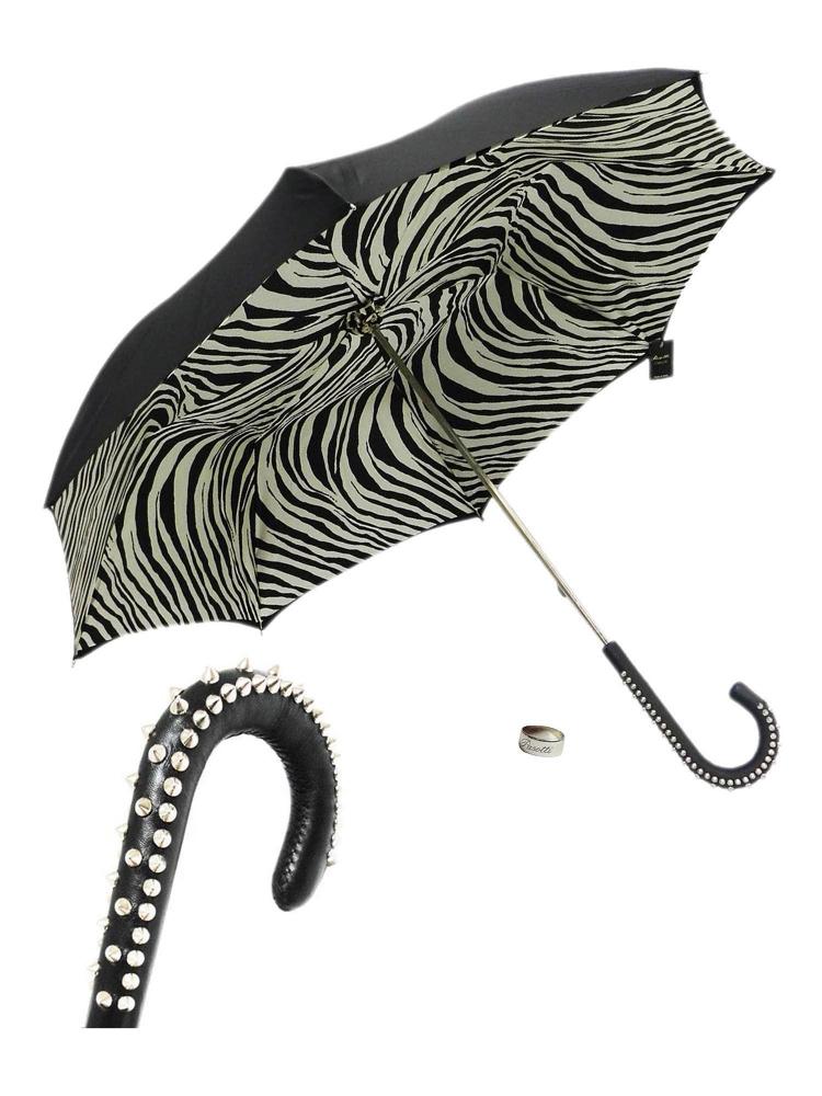 Pasotti Umbrella UMH20U Studd Handle Black Zebra Print