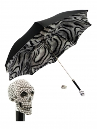 Pasotti Umbrella UMW333 Skull Swarovski Handle Black