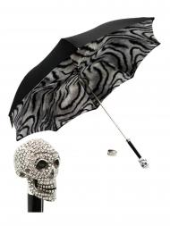 Pasotti Umbrella UMW333 Skull Swarovski Handle Black