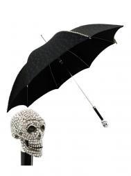 Pasotti Umbrella UAW333 Skull Swarovski Handle Black Skull Print Stud