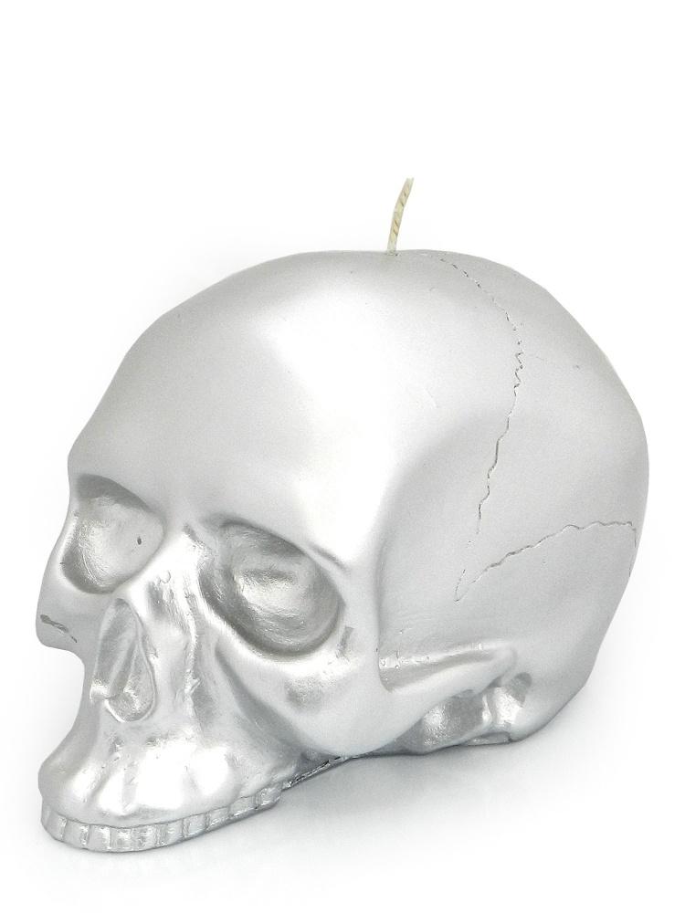 Modern Alchemy Candle Memento Mori 1518 Skull Medium Silver Mettalic