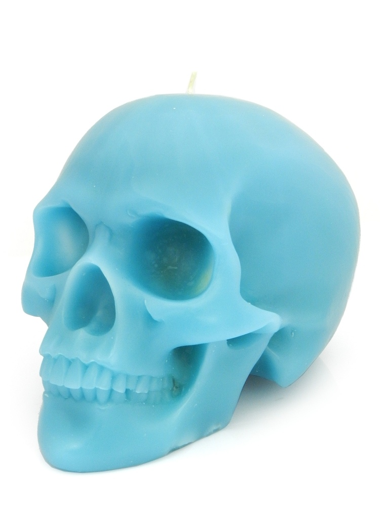 Modern Alchemy Candle Memento Mori 9001B Skull with Mandible Blue