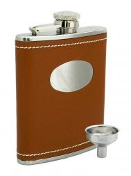 Peterson Hip Flask FLA135 Brown Leather w/Engraving Plate 6oz