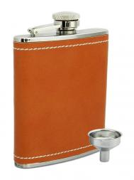 Peterson Hip Flask FLA133 Tan Leather 6oz