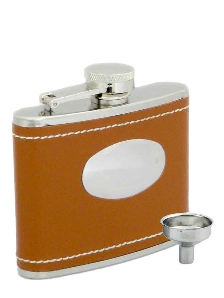 Peterson Hip Flask FLA136 Brown Leather w/Engraving Plate 4oz