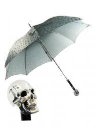 Pasotti Umbrella UAW33 Skull Handle Grey Skull Print Stud