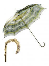 Pasotti Umbrella WAW90 Snake Gold Handle Snake Print