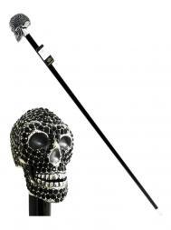 Pasotti Cane Skull Swarovski Black W333