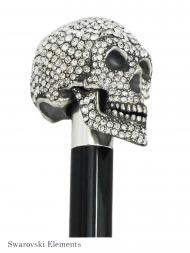 Pasotti Umbrella UMW333 Skull Swarovski Handle Black with Spider
