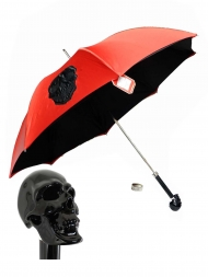 Pasotti Umbrella UMW33 Skull Black Handle Red with Black Skull