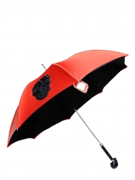 Pasotti Umbrella UMW33 Skull Black Handle Red with Black Skull