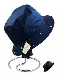 Pasotti Rain Hat Reversable Swarovski Crystals Edge Navy Blue