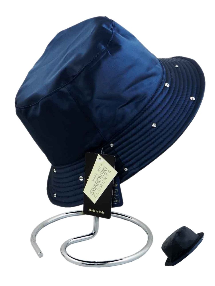 Pasotti Rain Hat Reversable Swarovski Crystals Edge Navy Blue