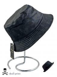 Pasotti Rain Hat Reversable Plain Black Skull Print
