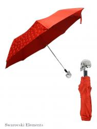 Pasotti Umbrella FMW333 Skull Swarovski Handle Red Skull Print