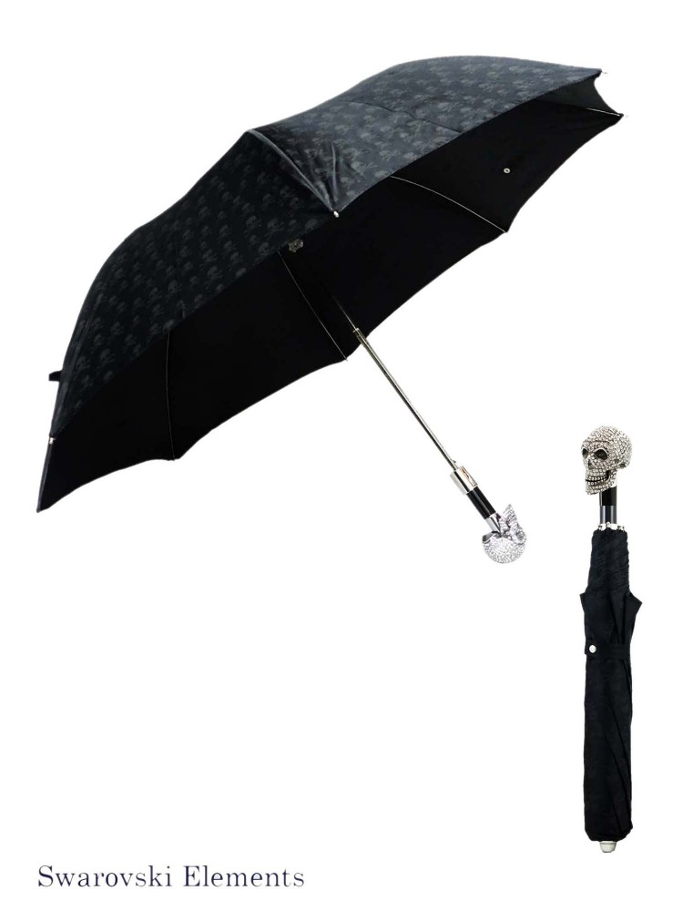 Pasotti Umbrella FAW333 Skull Swarovski Handle Black Skull Print