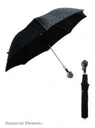 Pasotti Umbrella FAW333 Skull Swarovski Black Handle Black Skull Print
