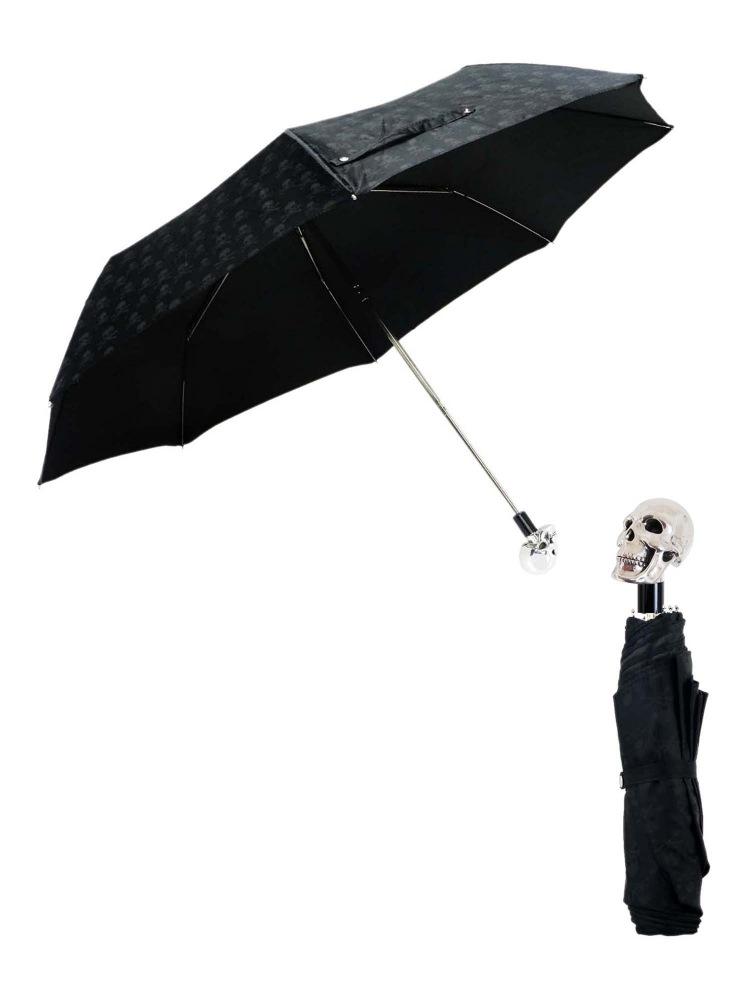 Pasotti Umbrella FMW33 Skull Handle Skull Print