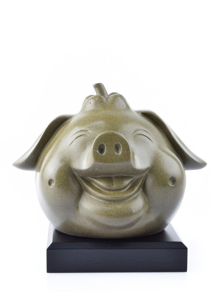 Tai Hwa Sculpture Piggy Auspicious Grey