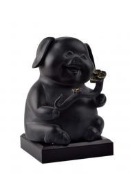 Tai Hwa Sculpture Piggy One Wishes Black