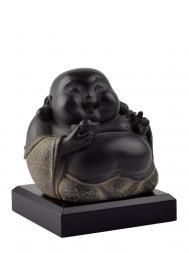 Tai Hwa Sculpture Buddha Happiness Stone Black