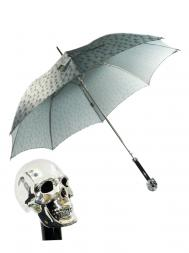 Pasotti Umbrella UAW33 Skull Handle Grey Skull Print