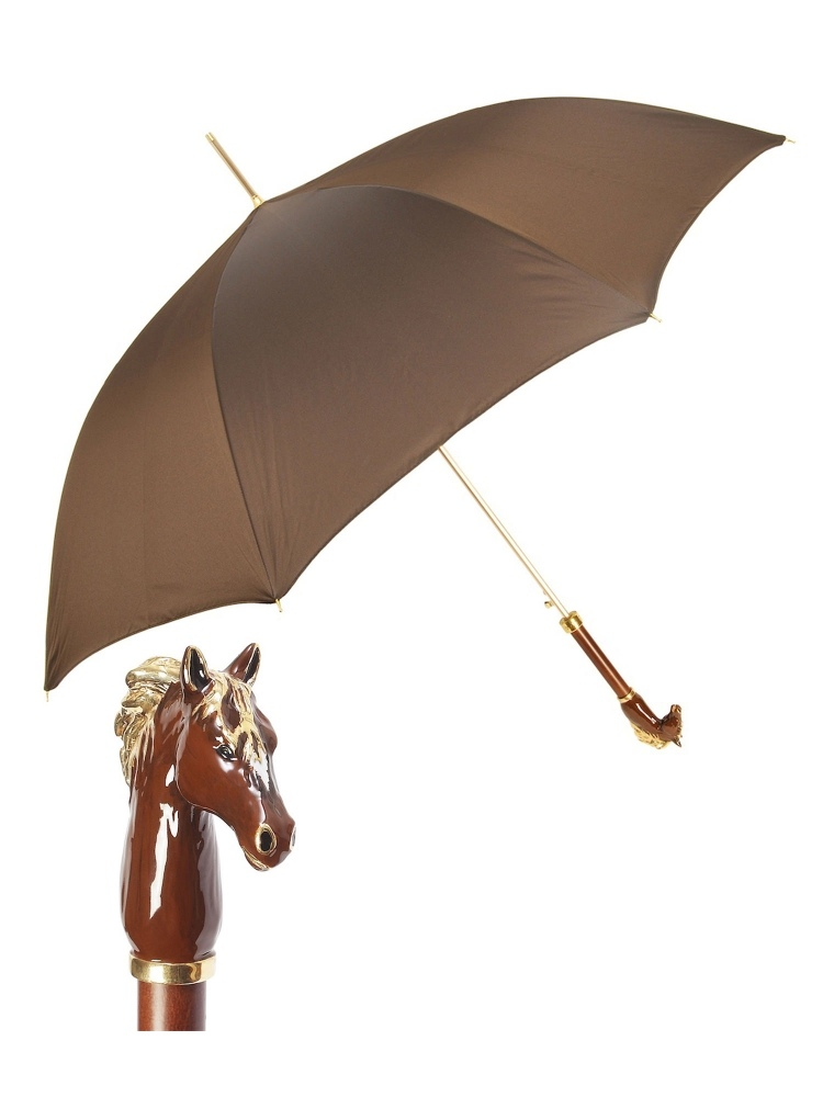 PASOTTI UMBRELLA BLACK WITH  SILVER HORSE HANDLE BY PASOTTI OMBRELLI