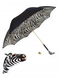 Pasotti Umbrella UMK17 Enameled Zebra Handle Black Zebra Print