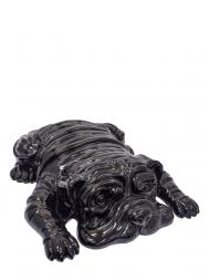 Sculpture Resin Bulldog English Big Black laying