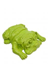 Sculpture Resin Bulldog English Big Green laying
