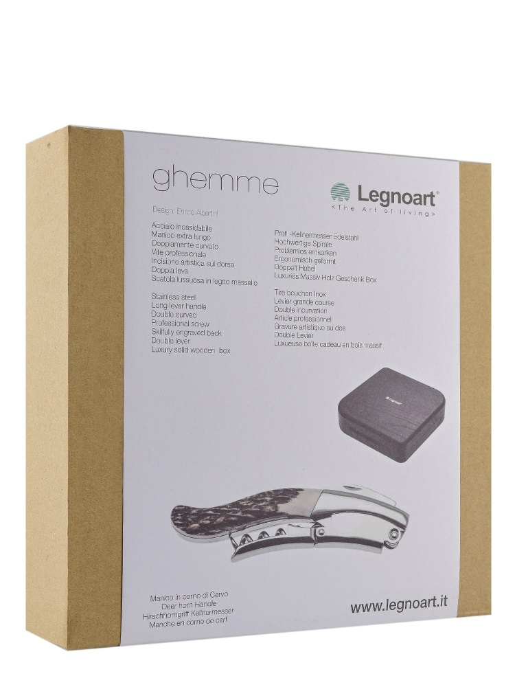 Legnoart Ghemme Sommelier Corkscrew Deer Horn Handle Luxury Box WF-1FX