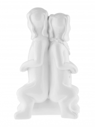 Sculpture Resin Dog Twin White