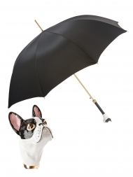 Pasotti Umbrella UAK61 French Bulldog Handle Black Oxford