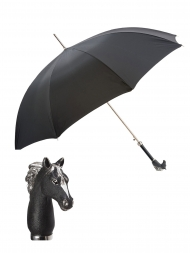 Pasotti Umbrella UAK45 Black Matt Horse Handle Black Oxford