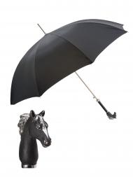 Pasotti Umbrella UAK45 Black Matt Horse Handle Black Oxford