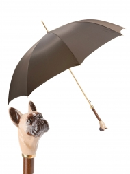 Pasotti Umbrella UAK61 French Bulldog Handle Moro Oxford