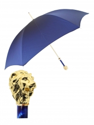 Pasotti Umbrella UAW37 Lion Gold Pearl Handle Blue Oxford
