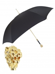 Pasotti Umbrella UAW37 Lion Gold Handle Black Oxford
