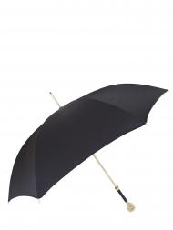 Pasotti Umbrella UAW37 Lion Gold Handle Black Oxford
