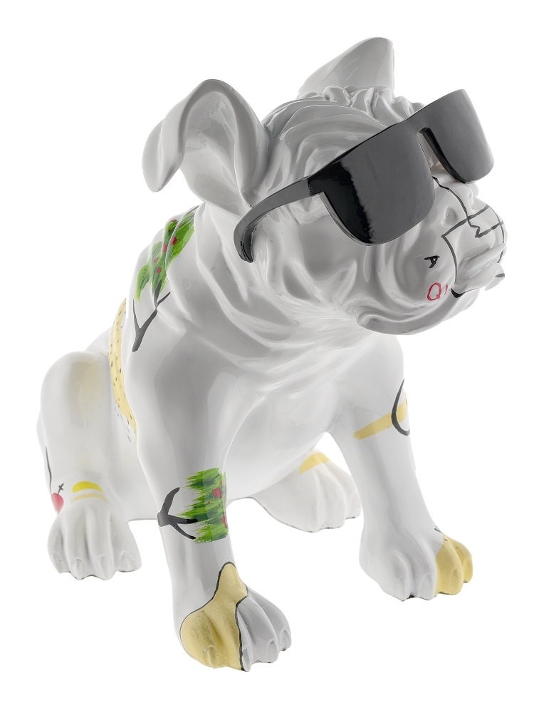 Sculpture Resin Dog Junior White With Sunglasses