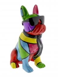 Sculpture Resin Bulldog English With Necktie Multicolour