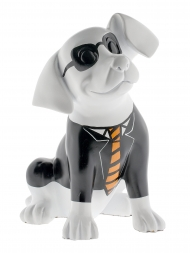 Sculpture Resin Dog Shepherd White With Suit and Sunglasses