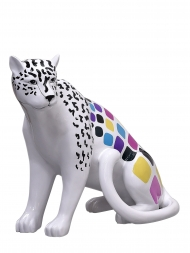 Sculpture Resin Leopard White Multicolour