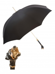 Pasotti Umbrella UAK54 Rottweiler Handle Black Oxford