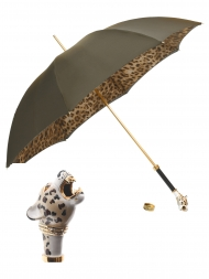 Pasotti Umbrella UMK36 Luxurious Jaguar Handle Moro Gradient Jaguar Print
